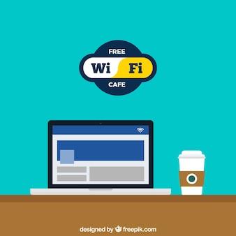 Кафе с wi-fi в плоском дизайне