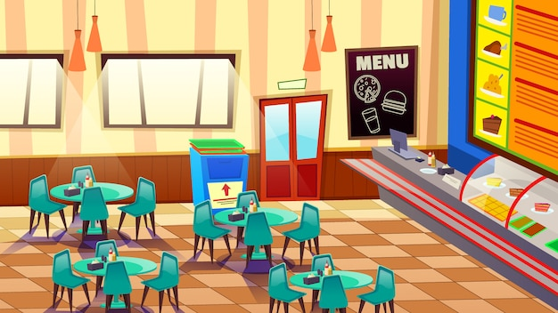 Cafe bar or bakery interior with tables and chairs illustration