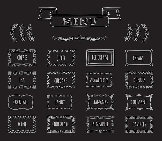 カフェ黒板メニュー手描きセット。コーヒーとジュース、アイスクリームと紅茶、メニューカフェ、イラスト