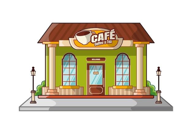 Мультфильм дизайн здания кафе, изолированные на белом фоне