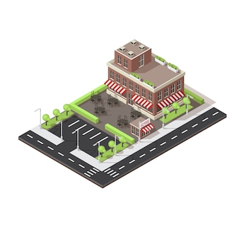 Cafe building isometric layout
