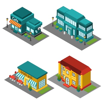 Cafe building isometric