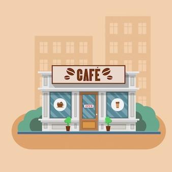 Cafe building vector illustration