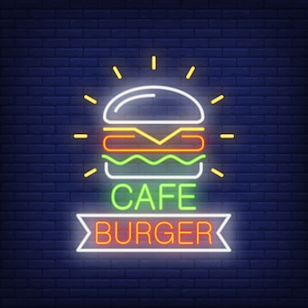 Cafe burger neon sign. Hamburger and ribbon shape on brick wall background.