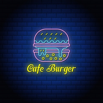 Cafe burger neon typography signs style text design.