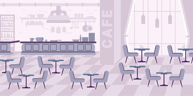 Cafe, cafeteria, bistro, canteen or restaurant interior