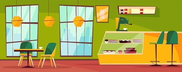 Cafe or cafeteria interior illustration of cartoon patisserie.