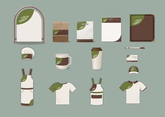 Insieme di elementi di identità aziendale cafe