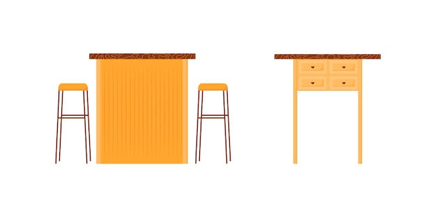 カフェカウンターフラットカラーオブジェクトセット。バースタンド。椅子付きのパブデスク。ベッドサイドテーブル。レストランの家具の孤立した漫画