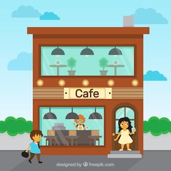 Cafe facade background
