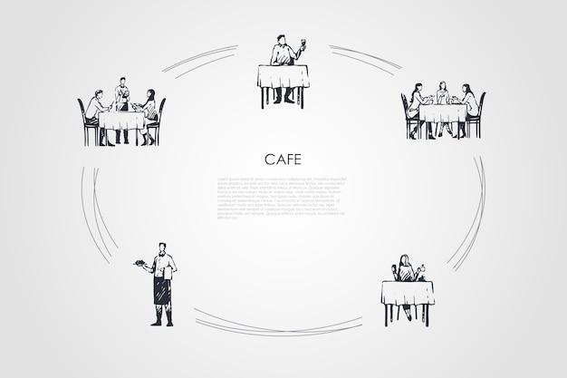 カフェ手描きのシクル