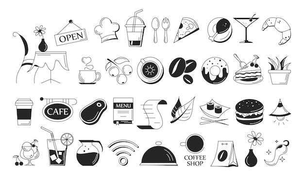 Набор иконок кафе. символ напитка и еды