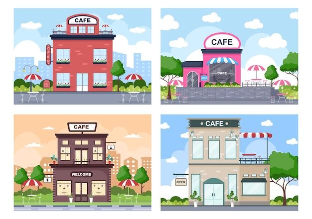 오픈 보드, 나무 및 건물 상점 외관 카페 그림. 평면 디자인 컨셉 프리미엄 벡터