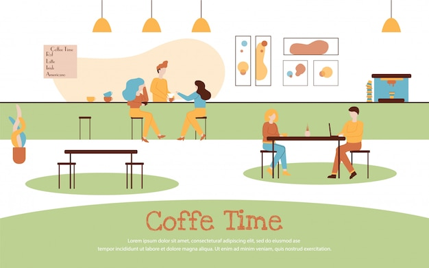 Cafe interior cartoon people drink coffee banner