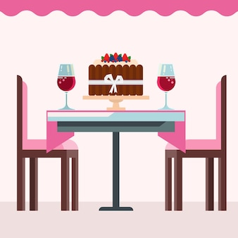 Cafe interior with birsday cake, glasses of wine in pink.