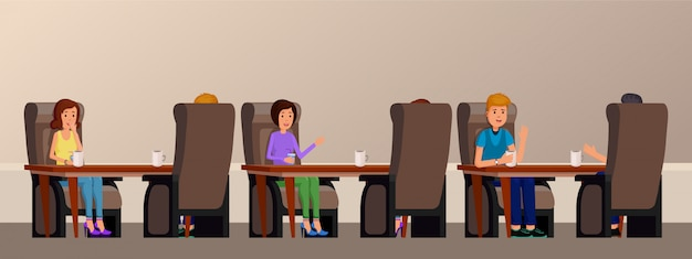 Cafe interior with people enjoying time. friends are sitting at a table in cafe flat vector illustration
