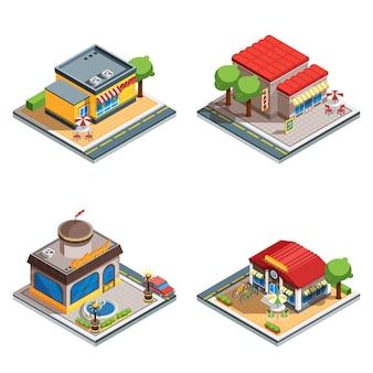 Cafe isometric icons set