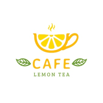 Cafe logo design. cup lemon tea. vector illustration