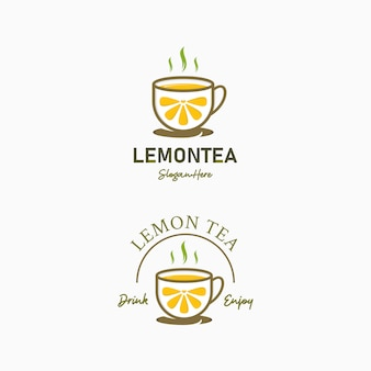 Cafe logo design of drink lemon tea
