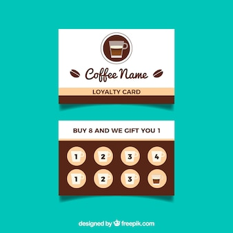 Cafe loyalty card template with flat design