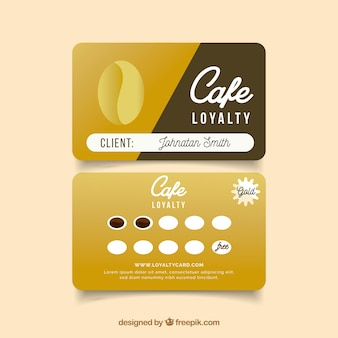 Cafe loyalty card template with modern style