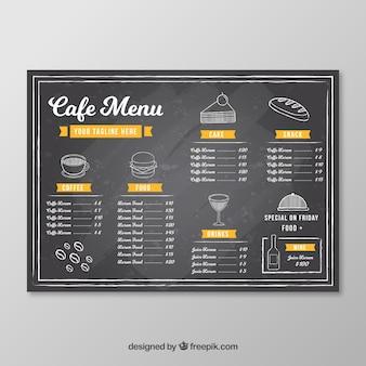 Шаблон меню кафе в стиле доски