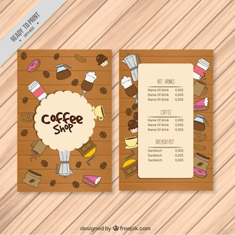 Cafe menu with hand drawn items