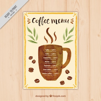 Cafe menu with watercolor coffee silhouette