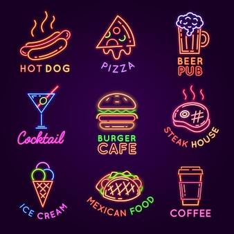 Cafe neon signs. food and drink glowing light billboards. burger and pizza restaurant, beer pub, steak house and coffee bar sign vector set. advertisement for selling ice cream and cocktail