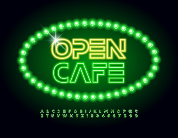Cafe open decorative neon font green led alphabet letters and numbers se
