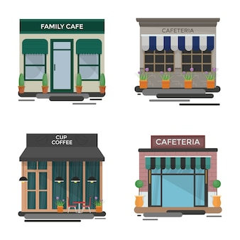 Cafe outdoors illustrations