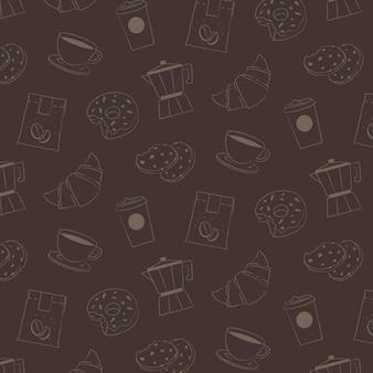 カフェパターンの背景、コーヒーとケーキのベクトル図