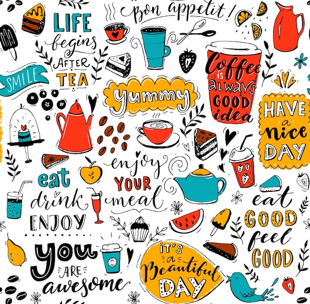 Cafe pattern with doodle cups inspirational quotes and desserts seamless texture for menu design