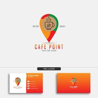 一杯のコーヒーとナビゲーションマークが付いたカフェポイントのロゴデザイン