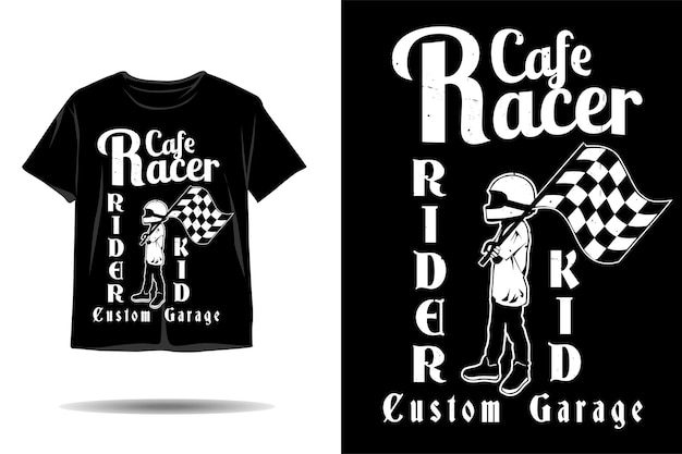 Cafe race rider kid silhouette tshirt design