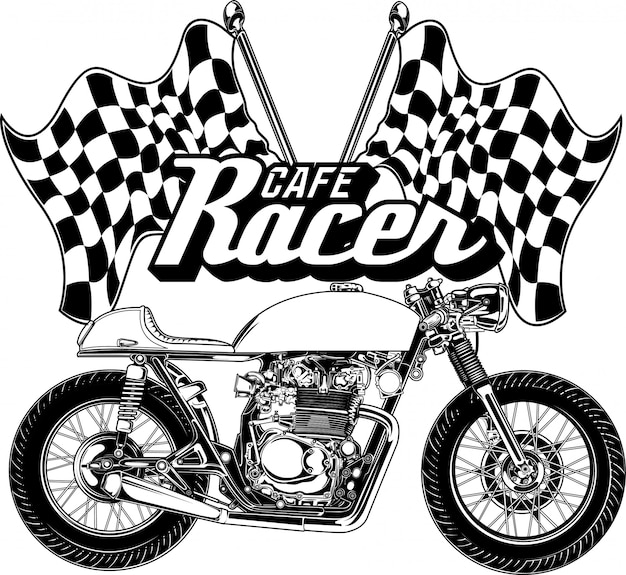 Cafe racer black and white illustration