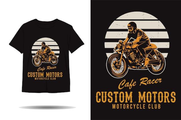 Cafe racer custom motors motorcycle club silhouette tshirt design