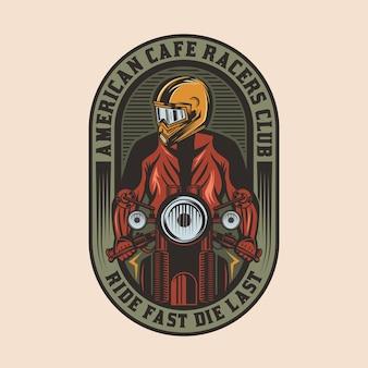 Кафе racer мотоцикл старинный значок эмблема