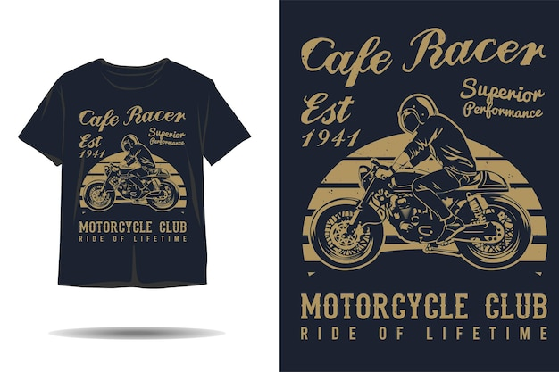 Cafe racer superior performance motorcycle club silhouette tshirt design