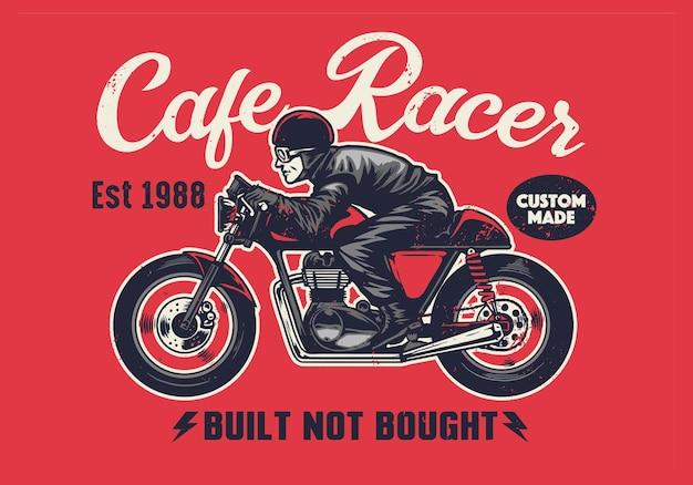 ヴィンテージスタイルのカフェレーサーtシャツのデザイン