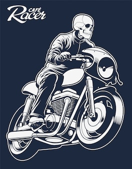 Cafe racer vector illustration skeleton on motorcycle