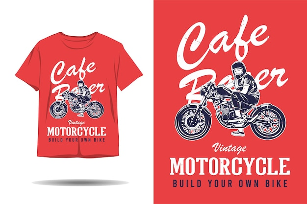 Cafe racer vintage motorcycle build your own bike silhouette tshirt design