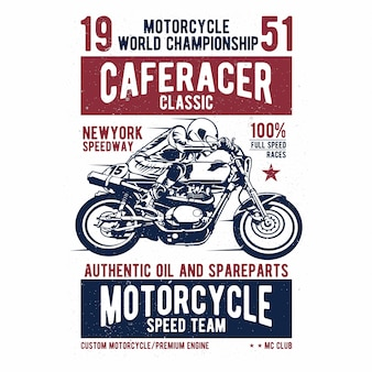 Cafe racer - vintage motorcycle design - vector lettering - shirt print - grunge texture can be easily removed - eps available