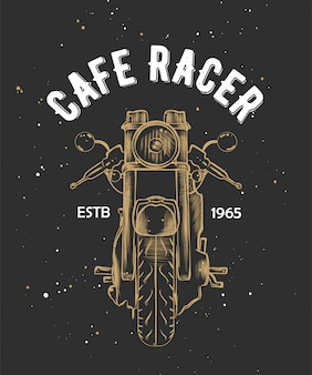 Cafe racer with sketch of motorcyrcle.