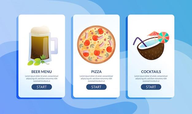 Cafe or restaurant flat  web banners set