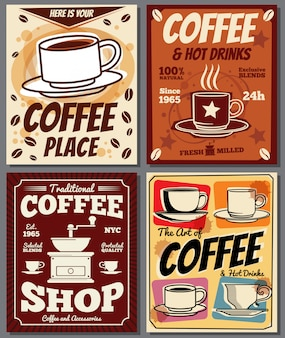 Cafe and restaurant retro posters templates with coffee stain.