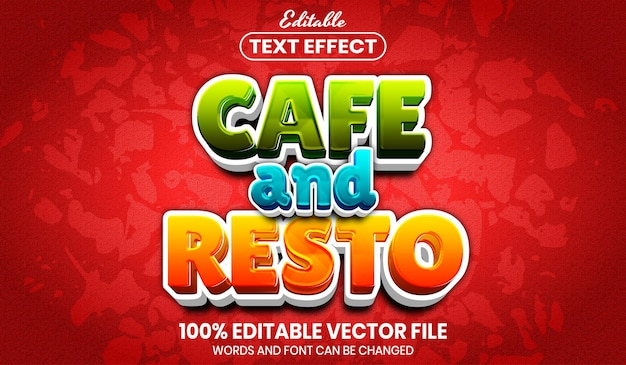 Cafe and resto text, font style editable text effect