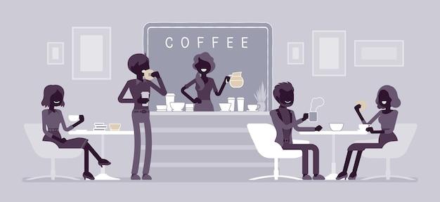 Кафе-магазин и люди расслабляющие иллюстрации