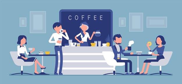 Кафе-магазин и люди расслабляются