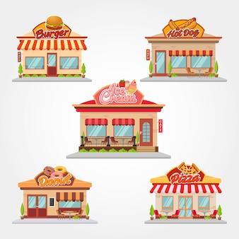 카페 상점과 레스토랑 건물 벡터 평면 디자인 일러스트 레이션